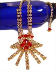 Red and Crystal RS, Handcrafted with prong-set rhinestones