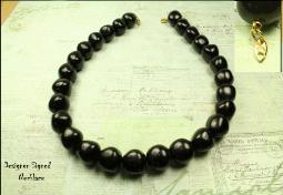 Trifari black necklace beads, one strand