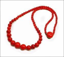 Glass Red Bead Necklace, varying sized red glass with dark swirls