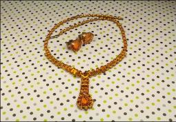 Vintage Amber Crystal Pendant Necklace with clip back earrings