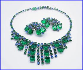 Amazing Blues and Greens Gems Rhinestone Necklace Set