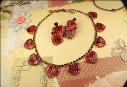 Vintage red heart with ruby rhinestone necklace set