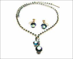 Icy deep peacock blue stone necklace set