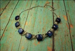 Vintage designer signed Coro dark blue thermoset squares necklace