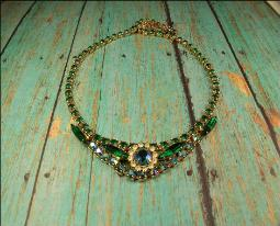 Juliana jewelry, Green, Clear, Blue Aurora Borealis Rhinestones and Green Navette