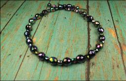 Carnival Glass iridescent multi-color with blues pinks and purples vintage necklace