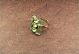 Vintage Green Rhinestone Adjustable Ring
